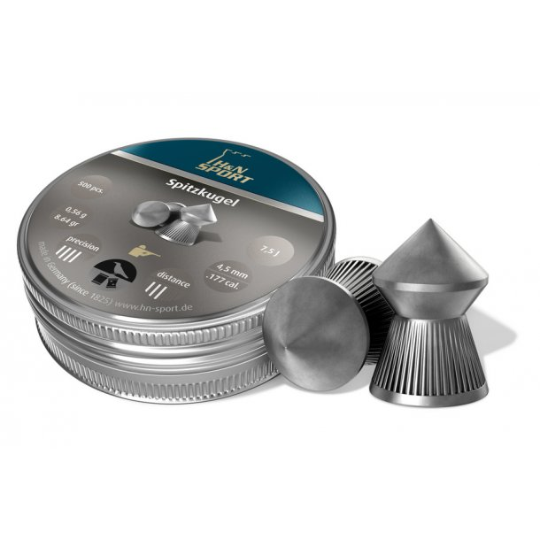 Fremragende H&N SpidsHagl 4,5mm 500 stk. i metaldåse. FT08